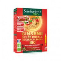 Santarome Bio Ginseng Gelée Royale Guarana Acérola Solution Buvable 20 Ampoules/10ml à Saint-Maximim