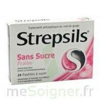 STREPSILS FRAISE SANS SUCRE, pastille édulcorée à l'isomalt, au maltitol et à la saccharine sodique à Saint-Maximim